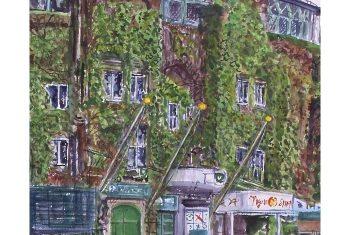 《甲子園球場》青山政吉画(平成2(1990)年)<br>芦屋市立美術博物館寄託