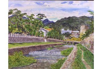 《芦屋川畔》青山政吉画(平成2(1990)年)<br>芦屋市立美術博物館寄託