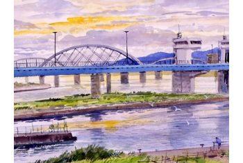 《淀川(毛間)》青山政吉画(昭和63(1988)年)<br>芦屋市立美術博物館寄託
